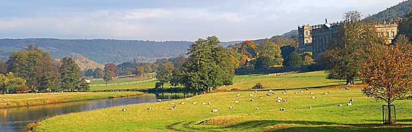 View of the river derwent and chatsworth house