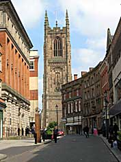 Iron Gate in Derby looking towards Derby Cathedral