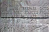 commemorative plaque now marks the start of the trespass at Bowden Bridge quarry